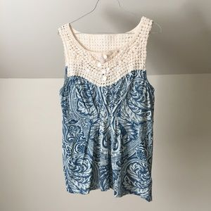 ANTHROPOLOGIE DELETTA Crochet Blue Paisley TankTop